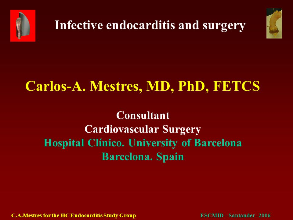 Infective endocarditis and surgery C.A.Mestres for the HC Endocarditis Study GroupESCMID – Santander - 2006 Surgical treatment of pacemaker and defibrillator lead endocarditis.