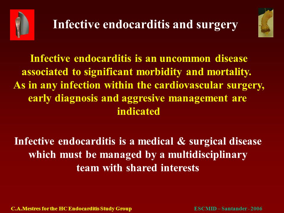 Infective endocarditis and surgery C.A.Mestres for the HC Endocarditis Study GroupESCMID – Santander - 2006 Pathogens N% Culture negative106.8 Staphylococcus5537.4 Streptococcus4329.3 Enterococcus149.5 Polimicrobial85.4 Candida10.7 Other149.5