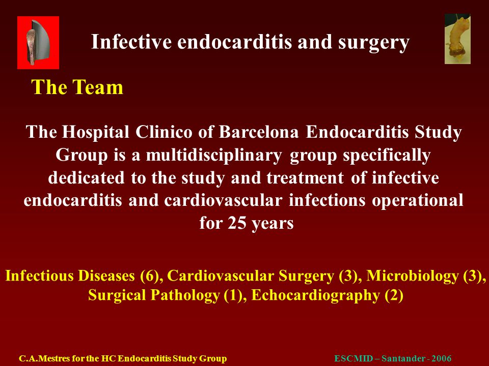 Infective endocarditis and surgery C.A.Mestres for the HC Endocarditis Study GroupESCMID – Santander - 2006 Type of operation Emergency29.9% Urgent21.8% Elective46.9%