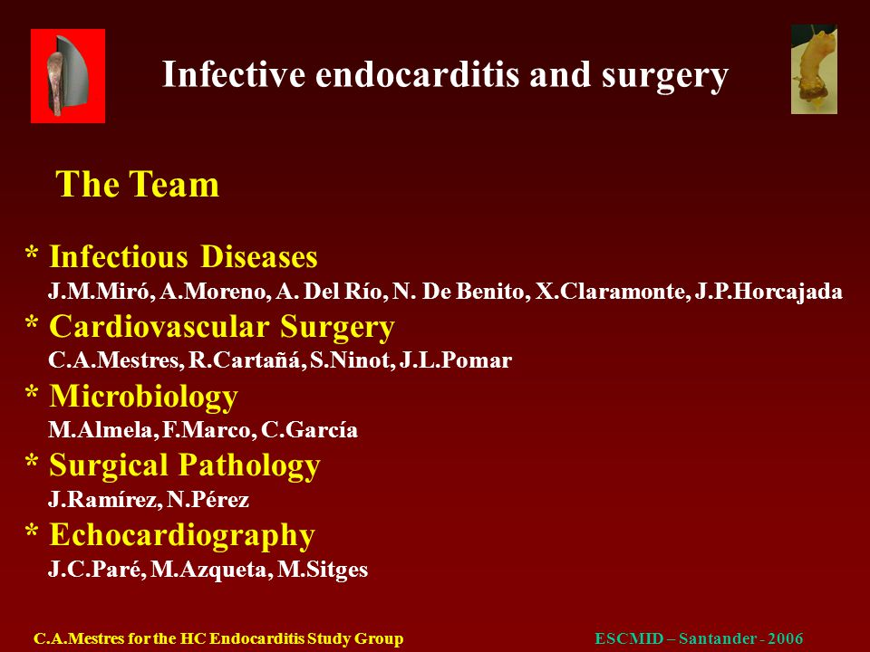 Infective endocarditis and surgery C.A.Mestres for the HC Endocarditis Study GroupESCMID – Santander - 2006 YearPatientFUDrug addictionRecurrentHIVOutcome (Yrs)relapseendocarditisstage 1991AMG6Yes14 mosB3Alive (Corynebacterium spp)Late Reop 1991RPO6Yes48, 58, 63 mosB2Alive (MSSA all cases)No Reop 1992PER5NoNoA2Alive Late Reop 1994JLF2.5YesNoA3Death Overdose 1996JFG8.5Yes7, 12 mosA2Alive (MSSA)No reop Outcomes
