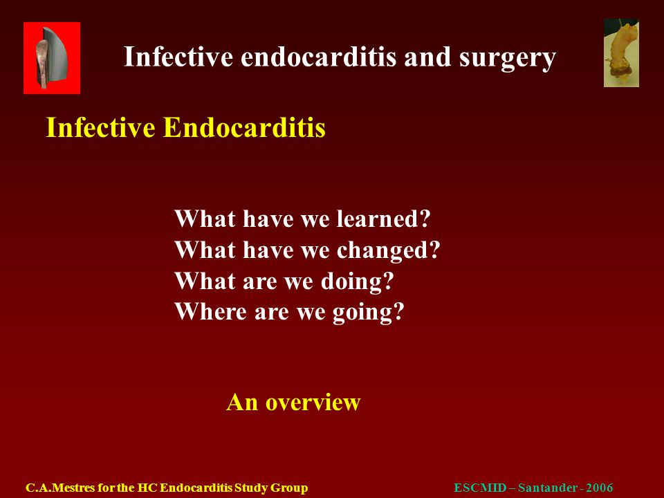 Infective endocarditis and surgery C.A.Mestres for the HC Endocarditis Study GroupESCMID – Santander - 2006 Staphylococcus spp S.aureus CNS Streptococcus spp VGS S.bovis Other streptococci Enterococcus spp Culture negative Other (HACEK) 17 (38%)* 13 (29%)* 4 (9%)* 16 (35%) 10 (22%) 2 (4%) 4 (9%) 2 (4%) 5 (11%) 7 (15%) 18 (58%)* 3 (10%)* 15 (48%)* 9 (29%) 5 (16%) -- 4 (13%) 2 (6%) -- 2 (6%) 35 (46%) 16 (21%) 19 (25%) 25 (33%) 15 (20%) 2 (3%) 8 (10%) 4 (5%) 5 (6%) 9 (12%) NVE=45PVE=31All=76 Pathogens NVE vs PVE groups (p<0.05)