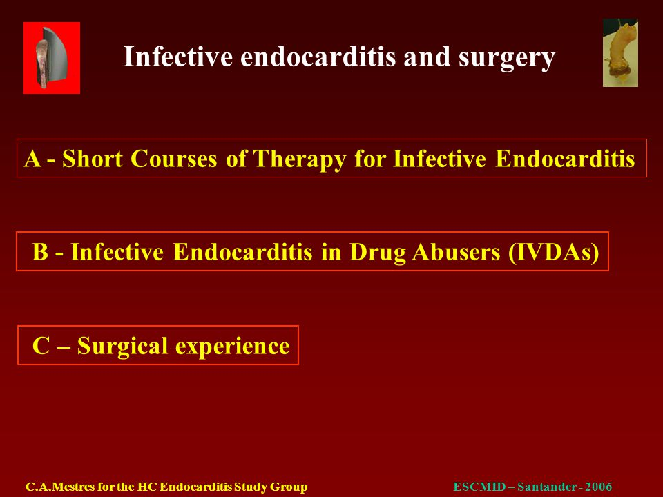 Infective endocarditis and surgery C.A.Mestres for the HC Endocarditis Study GroupESCMID – Santander - 2006 Aim of the study To validate the EuroSCORE preoperative stratification risk model in infective endocarditis
