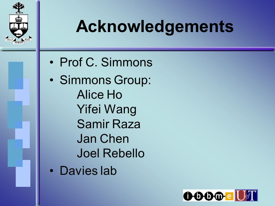 Acknowledgements Prof C.