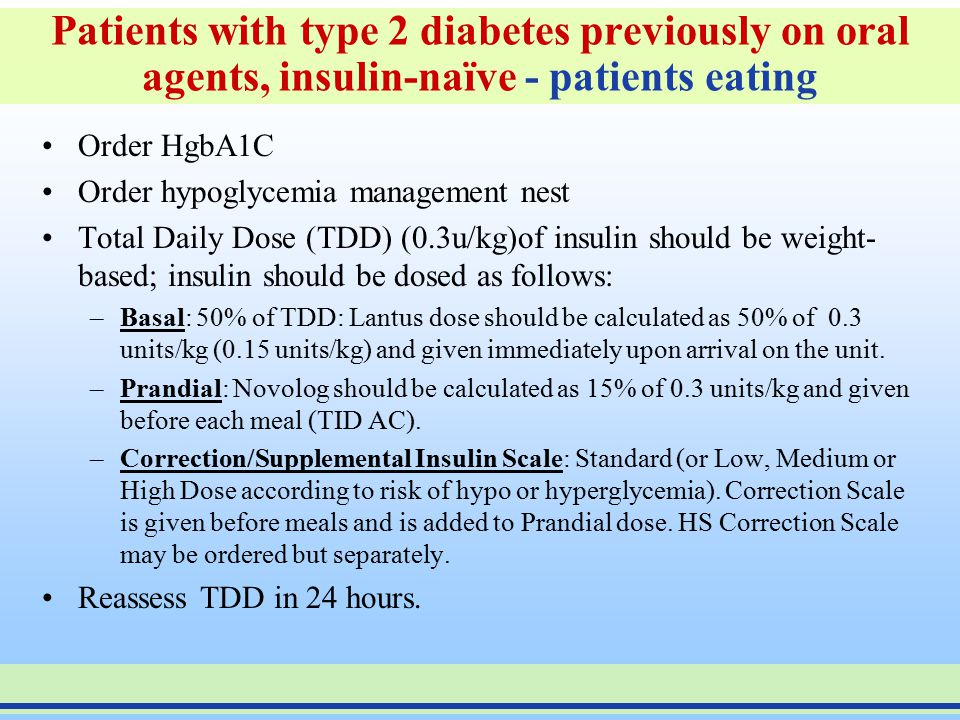 Patients with type 1 diabetes or type 2 diabetes previously on insulin therapy- patients NPO Approximate dose for a 70 kg patient : 0.4 u/kg x 70 kg =