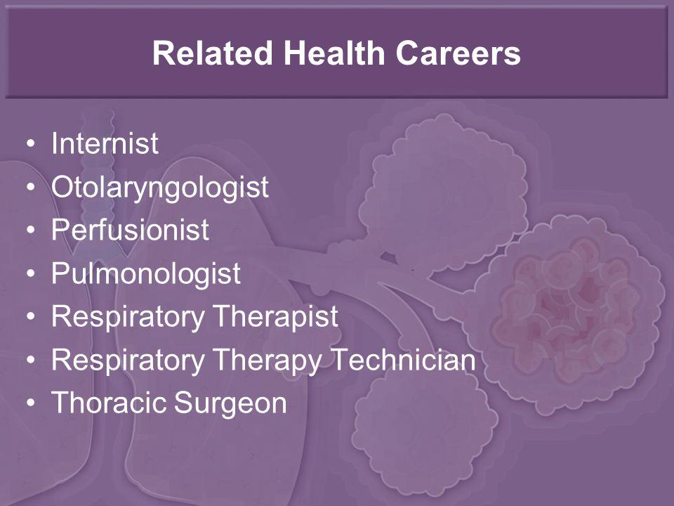 Related Health Careers Internist Otolaryngologist Perfusionist Pulmonologist Respiratory Therapist Respiratory Therapy Technician Thoracic Surgeon