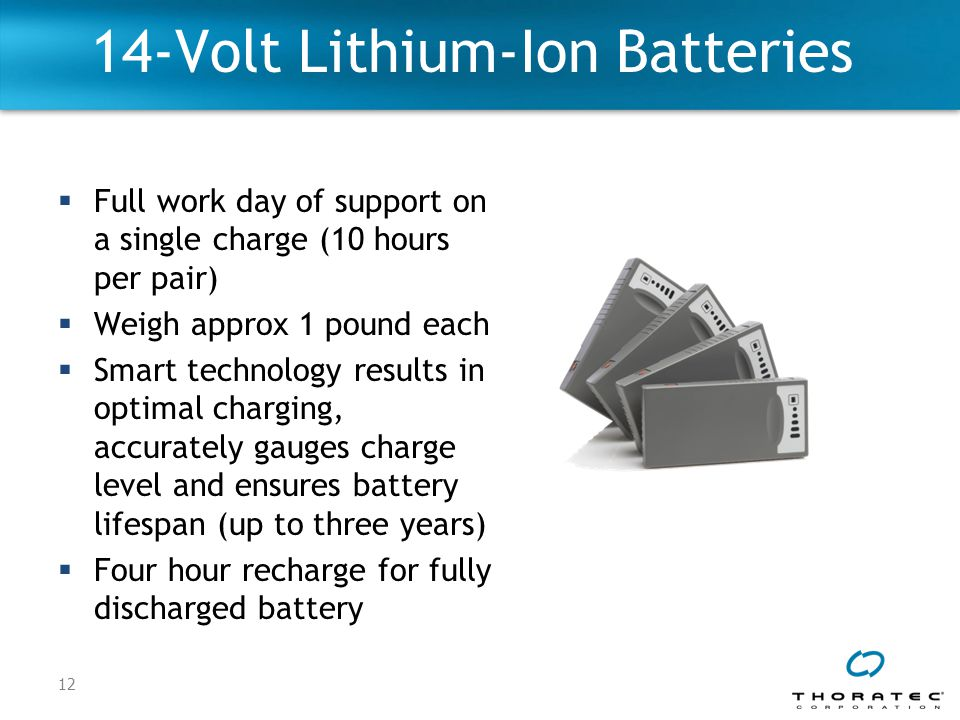 12 14-Volt Lithium-Ion Batteries  Full work day of support on a single charge (10 hours per pair)  Weigh approx 1 pound each  Smart technology results in optimal charging, accurately gauges charge level and ensures battery lifespan (up to three years)  Four hour recharge for fully discharged battery