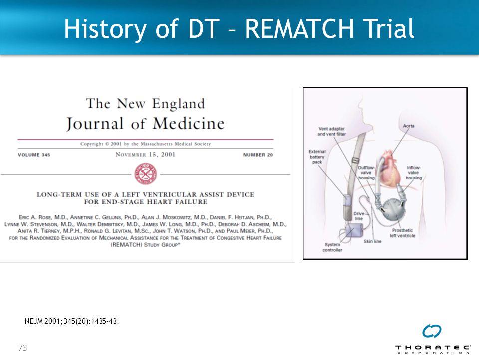 73 History of DT – REMATCH Trial NEJM 2001;345(20):1435-43.