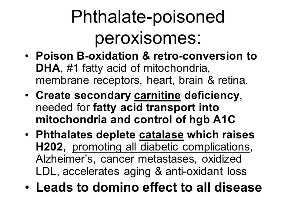 Phthalate-poisoned peroxisomes: Poison B-oxidation & retro-conversion to DHA, #1 fatty acid of mitochondria, membrane receptors, heart, brain & retina