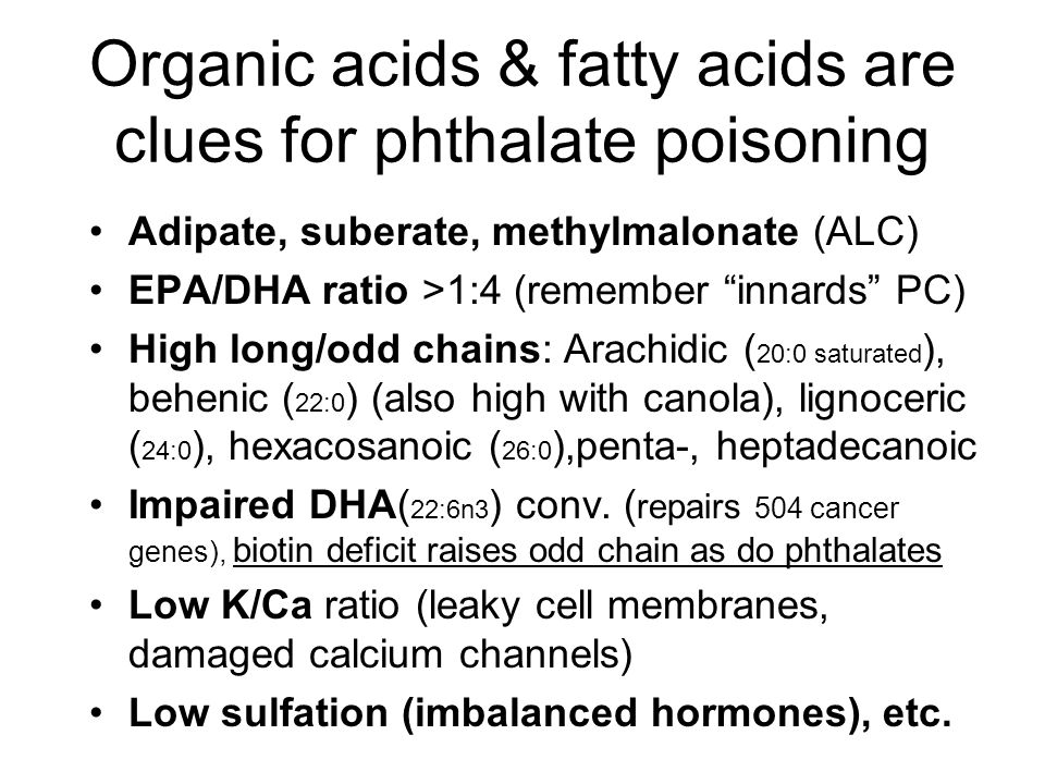 Organic acids & fatty acids are clues for phthalate poisoning Adipate, suberate, methylmalonate (ALC) EPA/DHA ratio >1:4 (remember innards PC) High long/odd chains: Arachidic ( 20:0 saturated ), behenic ( 22:0 ) (also high with canola), lignoceric ( 24:0 ), hexacosanoic ( 26:0 ),penta-, heptadecanoic Impaired DHA( 22:6n3 ) conv.
