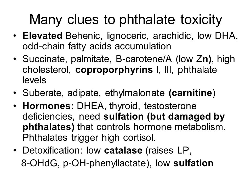 Many clues to phthalate toxicity Elevated Behenic, lignoceric, arachidic, low DHA, odd-chain fatty acids accumulation Succinate, palmitate, B-carotene/A (low Zn), high cholesterol, coproporphyrins I, III, phthalate levels Suberate, adipate, ethylmalonate (carnitine) Hormones: DHEA, thyroid, testosterone deficiencies, need sulfation (but damaged by phthalates) that controls hormone metabolism.