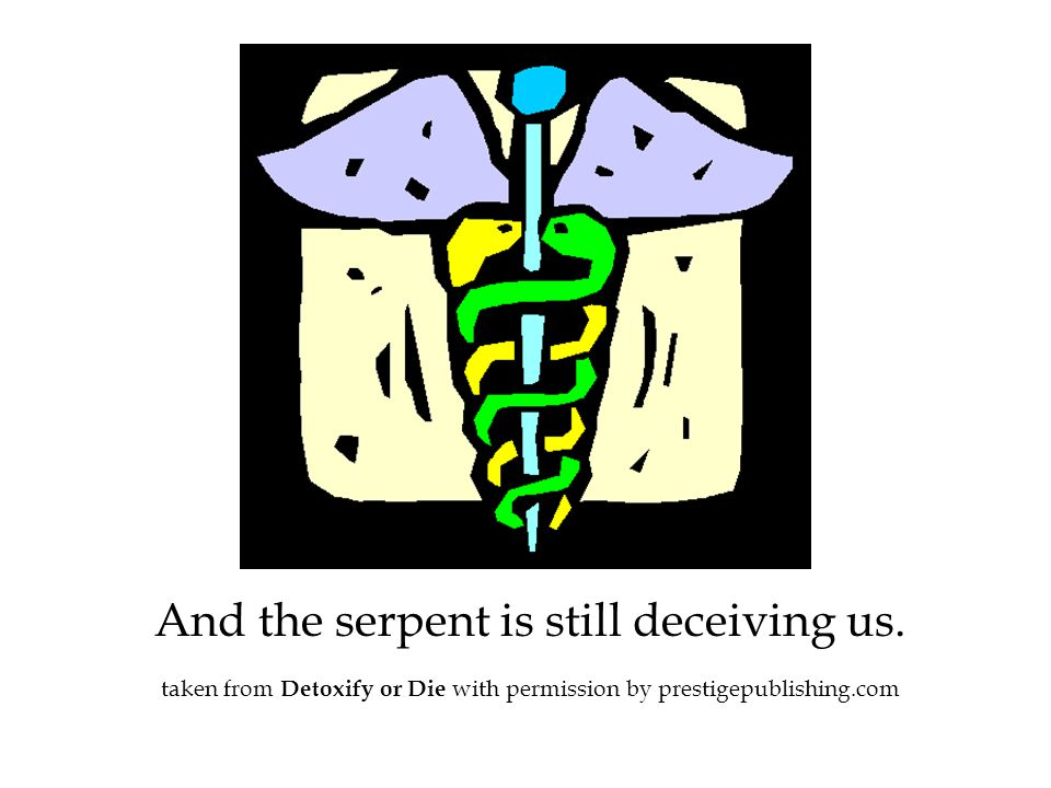 And the serpent is still deceiving us. taken from Detoxify or Die with permission by prestigepublishing.com