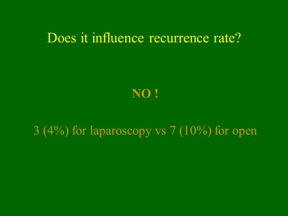 Does it influence recurrence rate? NO ! 3 (4%) for laparoscopy vs 7 (10%) for open