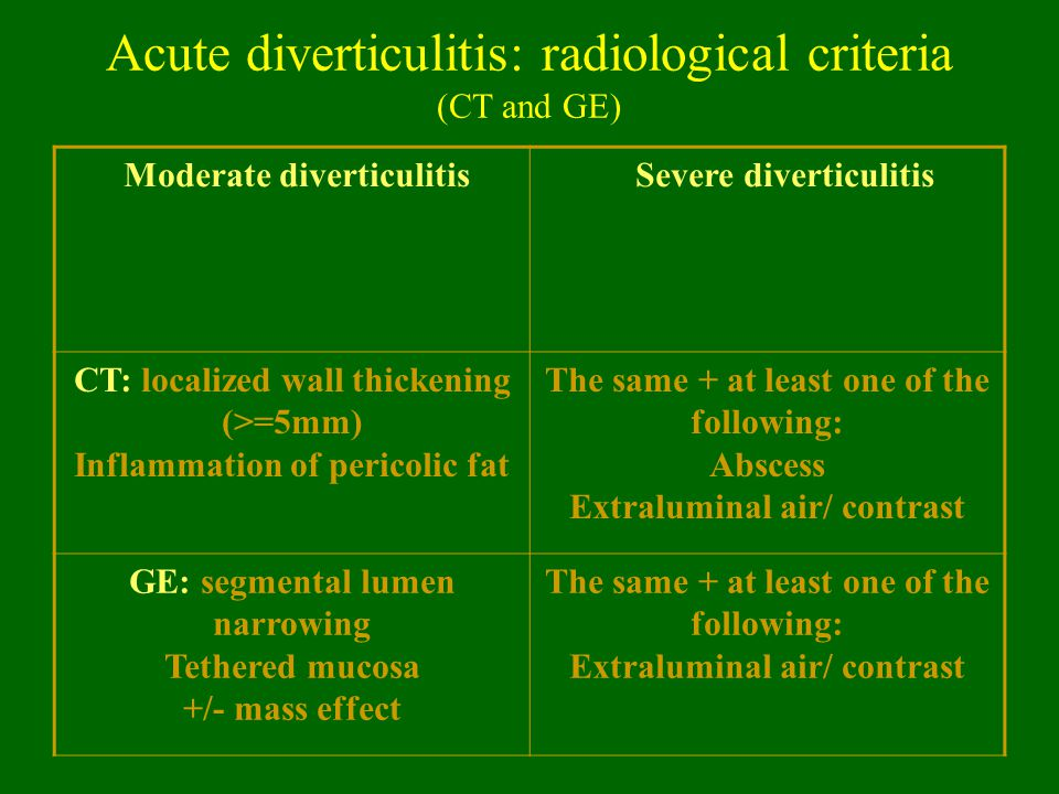 Acute diverticulitis: radiological criteria (CT and GE) Moderate diverticulitis Severe diverticulitis CT: localized wall thickening (>=5mm) Inflammati