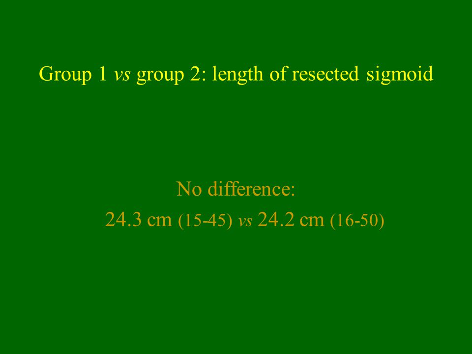 Group 1 vs group 2: length of resected sigmoid No difference: 24.3 cm (15-45) vs 24.2 cm (16-50)