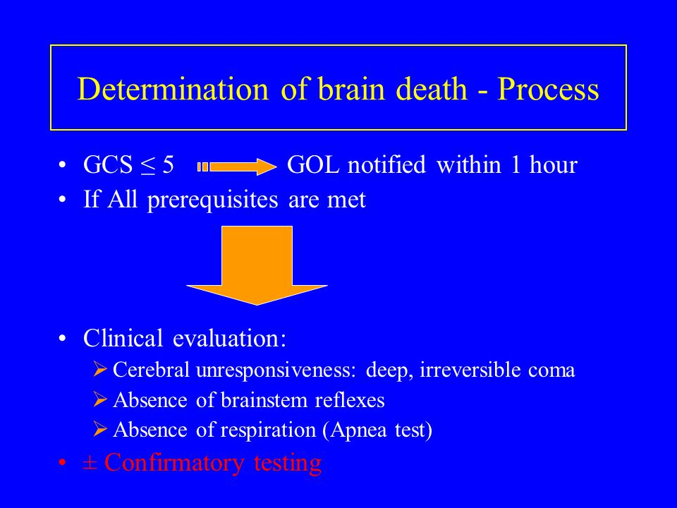 Determination of brain death - Process GCS ≤ 5 GOL notified within 1 hour If All prerequisites are met Clinical evaluation:  Cerebral unresponsivenes