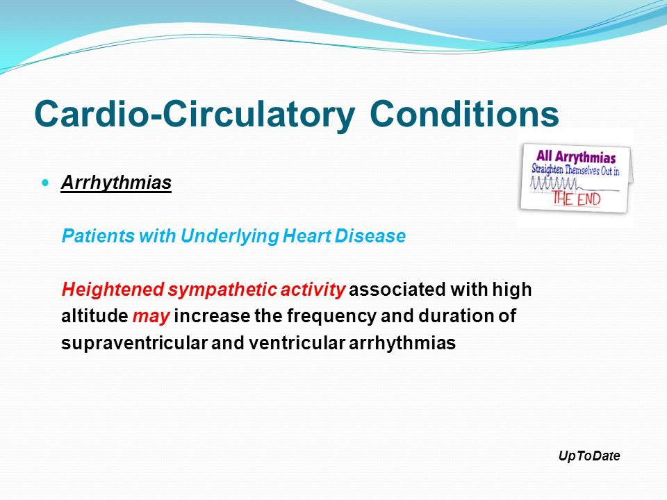Cardio-Circulatory Conditions Arrhythmias Healthy Elderly Men (Age 49-69 years) The incidence of both supraventricular and ventricular premature beats (VPBs) was nearly doubled at an altitude of 1350 m (4428 feet) as compared to 200 m (656 feet) At higher altitude (2632 m), the frequency of ectopy was increased six- to sevenfold Physiol Res.