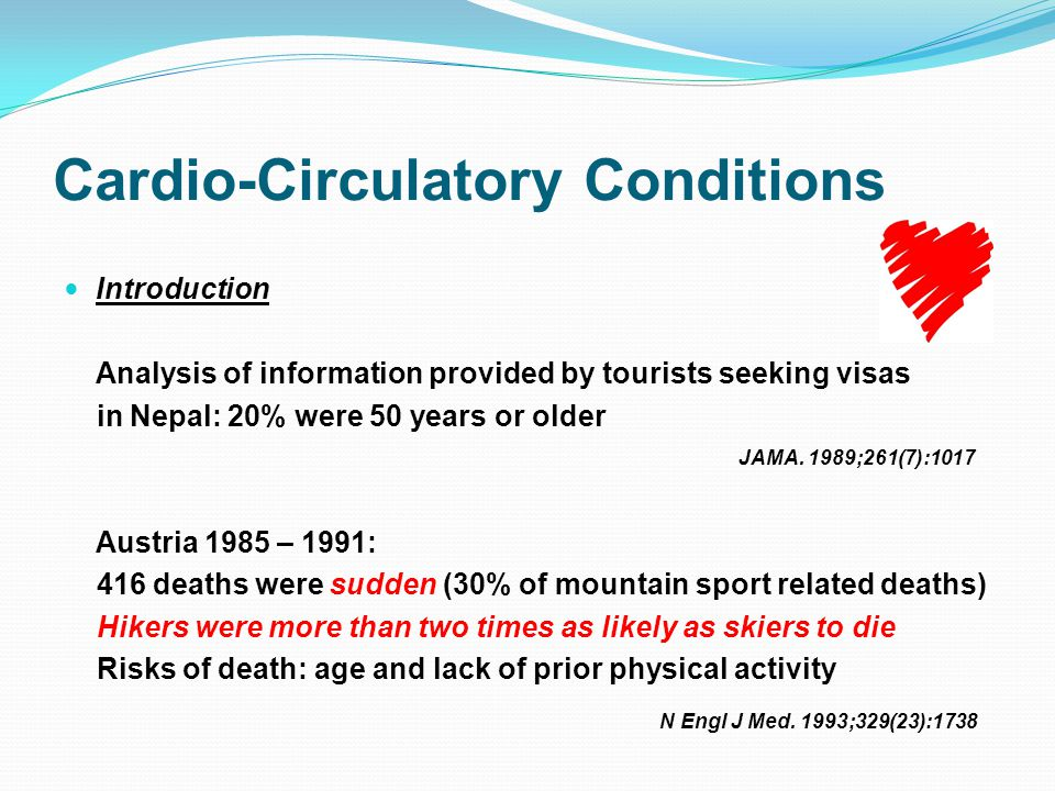 Cardio-Circulatory Conditions Introduction Analysis of information provided by tourists seeking visas in Nepal: 20% were 50 years or older Austria 1985 – 1991: 416 deaths were sudden (30% of mountain sport related deaths) Hikers were more than two times as likely as skiers to die Risks of death: age and lack of prior physical activity JAMA.
