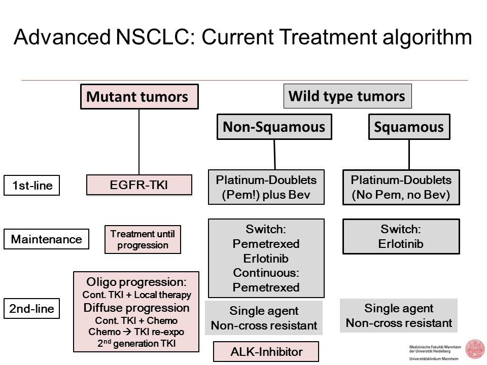 Advanced NSCLC: Erlotinib switch maintenance (Saturn) 1:1 Chemonaïve advanced NSCLC n=1,949 Chemonaïve advanced NSCLC n=1,949 Non-PD n=889 Non-PD n=889 4 cycles of first-line platinum doublet chemotherapy * Placebo PD Erlotinib 150mg/day Erlotinib 150mg/day PD Mandatory tumour sampling Stratification factors: EGFR IHC (positive vs negative vs indeterminate) Stage (IIIB vs IV) ECOG PS (0 vs 1) CT regimen (cis/gem vs carbo/doc vs others) Smoking history (current vs former vs never) Region Co-primary endpoints: PFS in all patients PFS in patients with EGFR IHC+ tumours Secondary endpoints: OS in all patients and those with EGFR IHC+ tumours, OS and PFS in EGFR IHC– tumours; biomarker analyses; safety; time to symptom progression; QoL *Cisplatin/paclitaxel; cisplatin/gemcitabine; cisplatin/docetaxel cisplatin/vinorelbine; carboplatin/gemcitabine; carboplatin/docetaxel carboplatin/paclitaxel