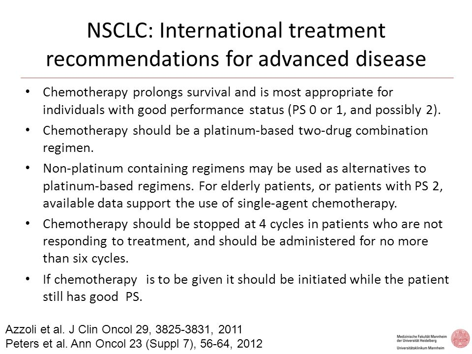 NSCLC: Bevacizumab - Eligibility Inclusion criteriaExclusion criteria  non-squamous NSCLC  chemo-naïve  ECOG PS of 0–1  grade  2haemoptysis  radiological evidence of tumour invasion of major blood vessels  spinal cord compression  uncontrolled hypertension  history of thrombotic or haemorrhagic disorders  therapeutic anticoagulation within 10 days of first dose Sandler et al N Engl J Med 355, 2542-2550, 2006 Crino et al, LancetOncol 11, 733-740, 2010 Reck et al, J ClinOncol 27, 1227-1235, 2009 Reck et al, Ann Oncol 21, 1227-1234,2010 Sandler et al J Thorac Oncol 5,1416-1423,2010 Soria et al Ann Oncol 24,20-30,2013