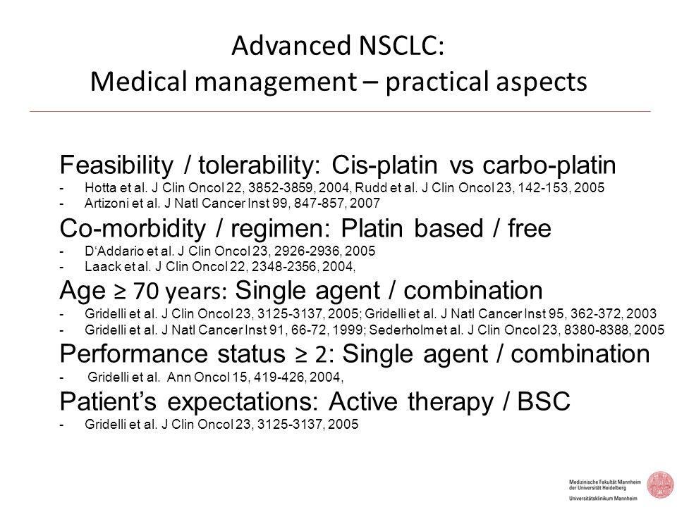 Advanced NSCLC: EGFR-TKIs as first line therapy Mok et al.