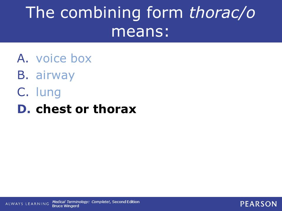Medical Terminology: Complete!, Second Edition Bruce Wingerd The combining form thorac/o means: A.voice box B.airway C.lung D.chest or thorax