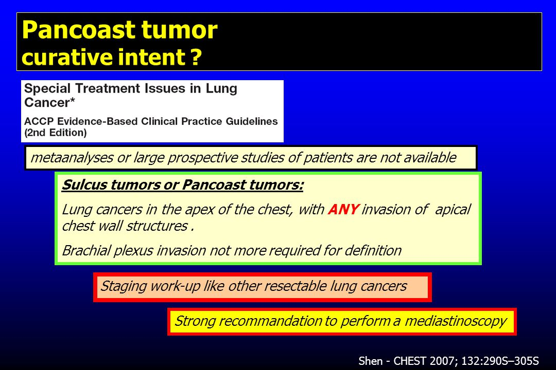 Pancoast tumor curative intent .