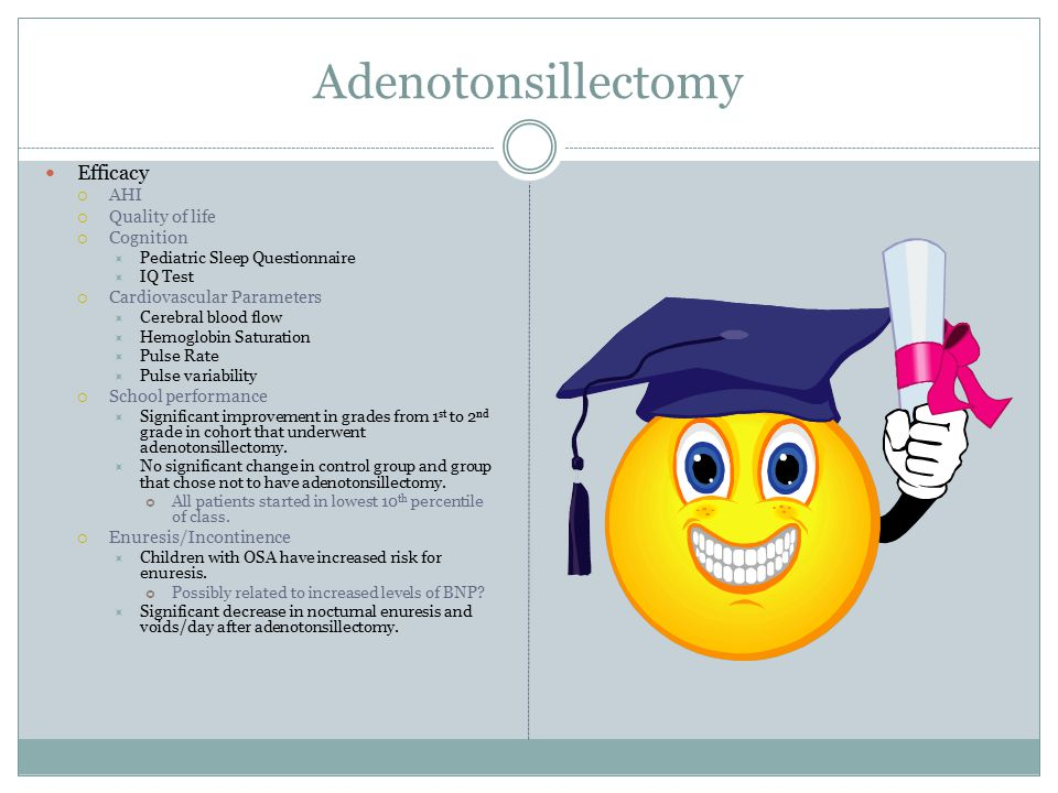 Adenotonsillectomy Efficacy  AHI  Quality of life  Cognition  Pediatric Sleep Questionnaire  IQ Test  Cardiovascular Parameters  Cerebral blood flow  Hemoglobin Saturation  Pulse Rate  Pulse variability  School performance  Significant improvement in grades from 1 st to 2 nd grade in cohort that underwent adenotonsillectomy.