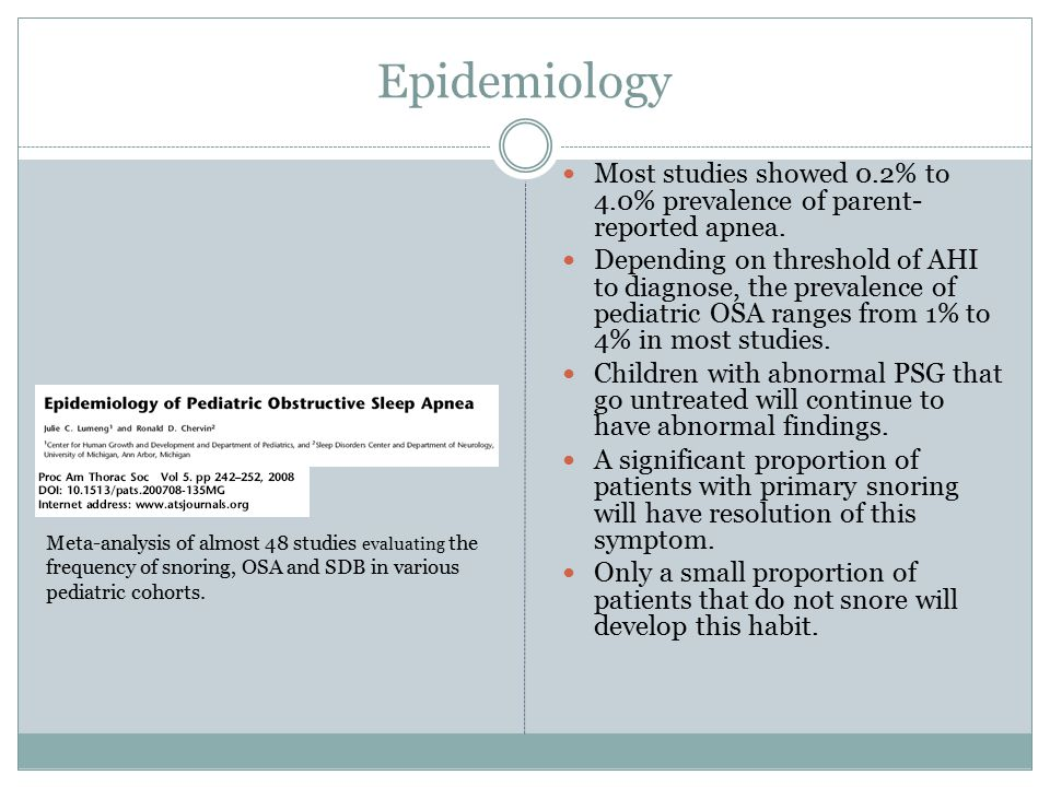 Epidemiology Pediatric OSA Adult OSA AgePreschoolElderly GenderEqualM>F EtiologyAdenoid/ Tonsil hypertrophy Obesity WeightFTT, normal, or obese Obese BehavioralHyperactiveSomnolent Sleep architecture NormalDecreased delta and REM sleep Surgical RxT&AUPPP Medical RxCPAP (rarely)CPAP Review article that focuses on the difference between pediatric and adult OSA from a physiological development perspective.