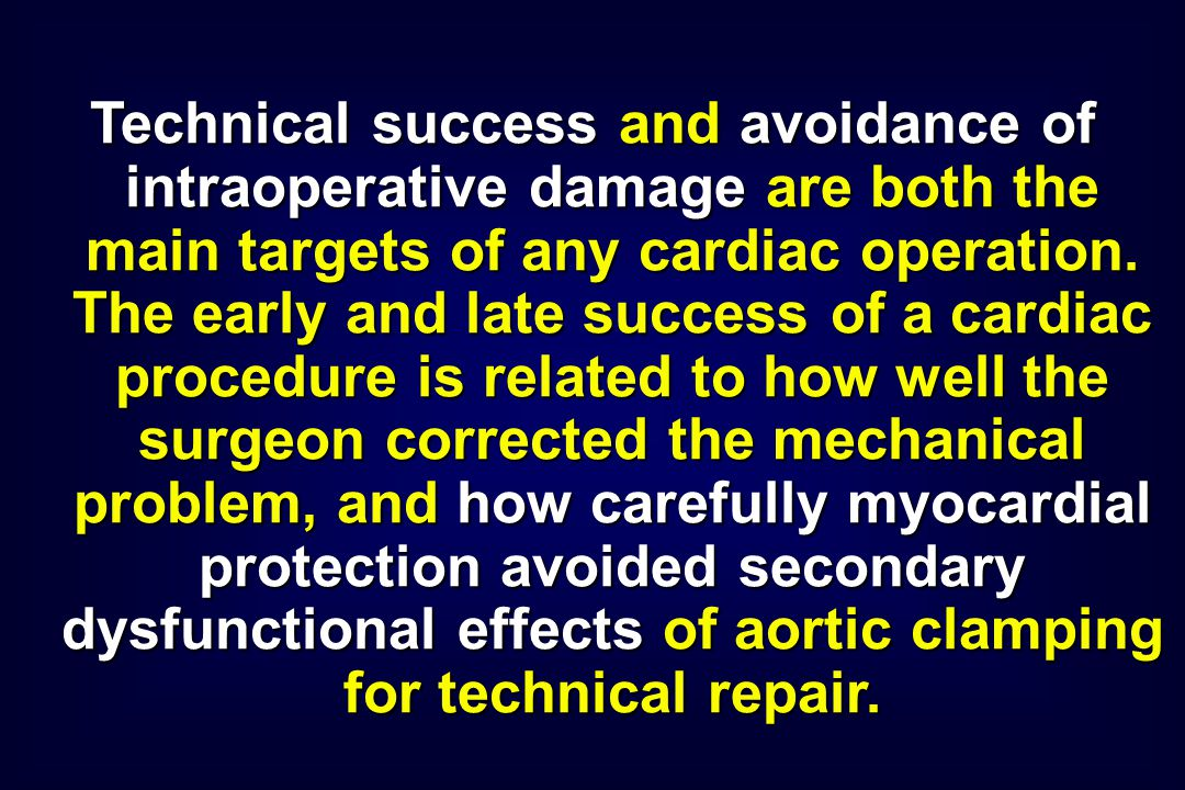 Technical success and avoidance of intraoperative damage are both the main targets of any cardiac operation. The early and late success of a cardiac p