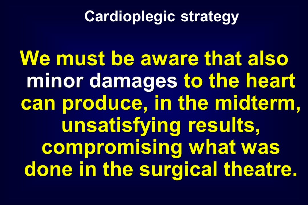 We must be aware that also minor damages to the heart can produce, in the midterm, unsatisfying results, compromising what was done in the surgical th