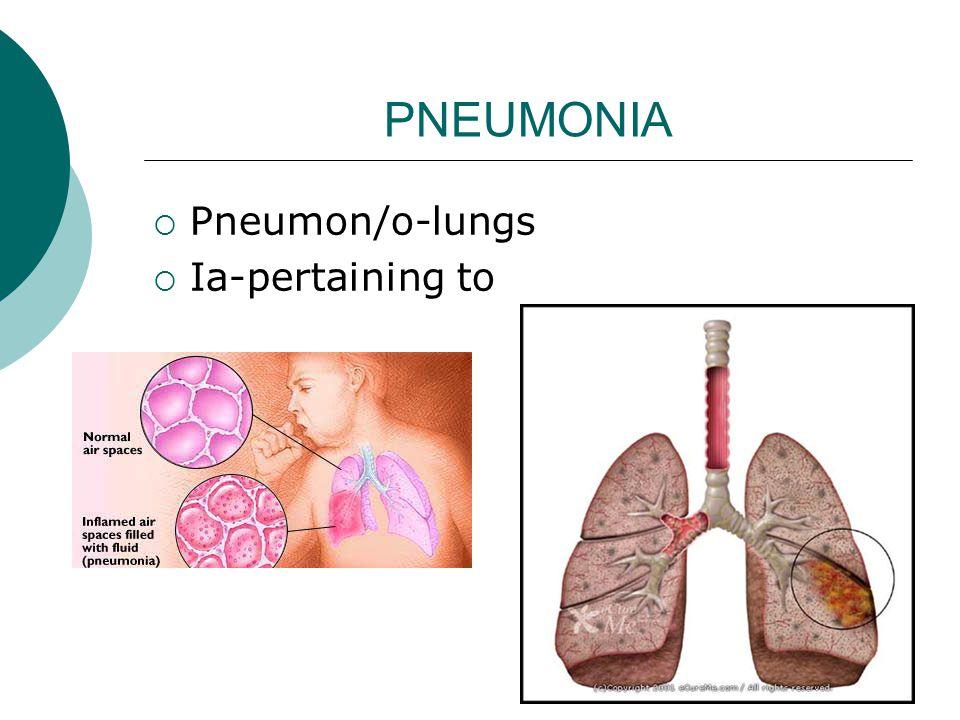 PNEUMONIA  Pneumon/o-lungs  Ia-pertaining to