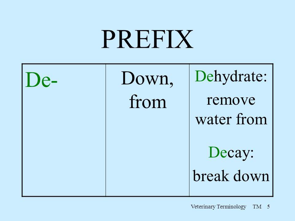 Veterinary Terminology TM 5 PREFIX De- Down, from Dehydrate: remove water from Decay: break down
