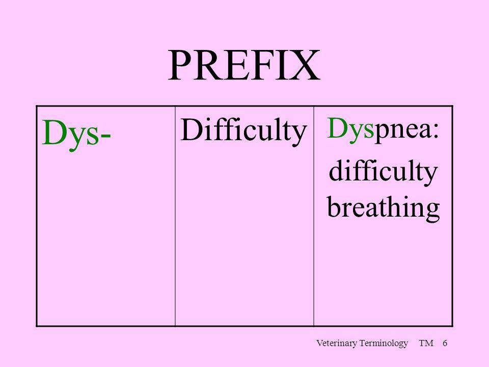 Veterinary Terminology TM 6 PREFIX Dys- Difficulty Dyspnea: difficulty breathing