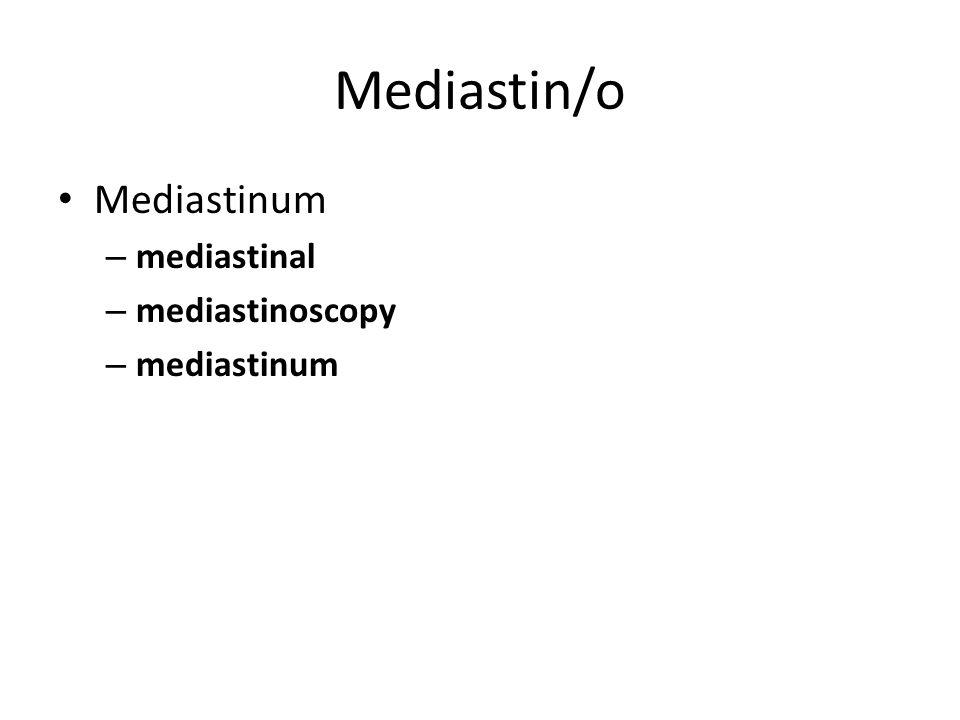 Mediastin/o Mediastinum – mediastinal – mediastinoscopy – mediastinum
