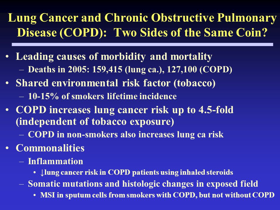 Lung Cancer and Chronic Obstructive Pulmonary Disease (COPD): Two Sides of the Same Coin.
