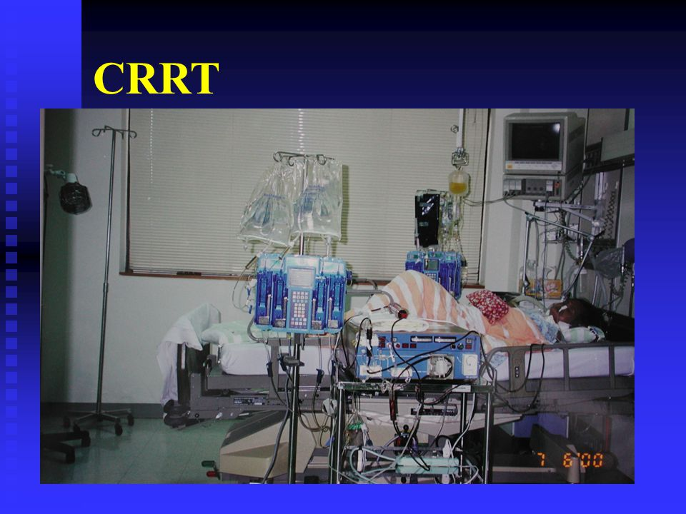 Extracorporeal depuration in ICU 1977 : Peter Kramer performs first arterio-venous hemofiltration (CAVH) 1977 : Peter Kramer performs first arterio-venous hemofiltration (CAVH) 1982 : FDA approves the CAVH 1982 : FDA approves the CAVH 1984 : Blood pump circulated remove fluid 1984 : Blood pump circulated remove fluid 1994 : Clinical importance to control fluid balance 1994 : Clinical importance to control fluid balance 1994 The first « automatic » machine is available 1994 The first « automatic » machine is available 2000 : higher flows machines becomes available 2000 : higher flows machines becomes available