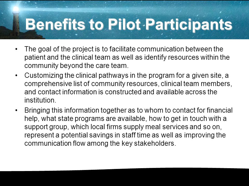The goal of the project is to facilitate communication between the patient and the clinical team as well as identify resources within the community beyond the care team.
