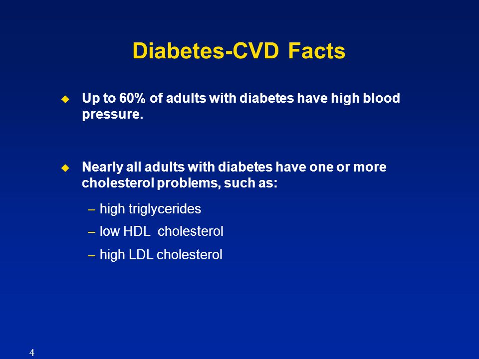 Diabetes-CVD Facts   Up to 60% of adults with diabetes have high blood pressure.   Nearly all adults with diabetes have one or more cholesterol pr