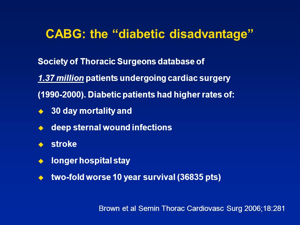 "CABG: the ""diabetic disadvantage"" Society of Thoracic Surgeons database of 1.37 million patients undergoing cardiac surgery (1990-2000). Diabetic pati"