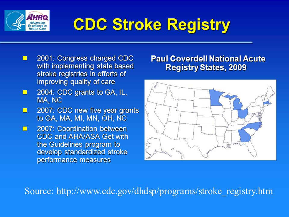 CDC Stroke Registry 2001: Congress charged CDC with implementing state based stroke registries in efforts of improving quality of care 2001: Congress