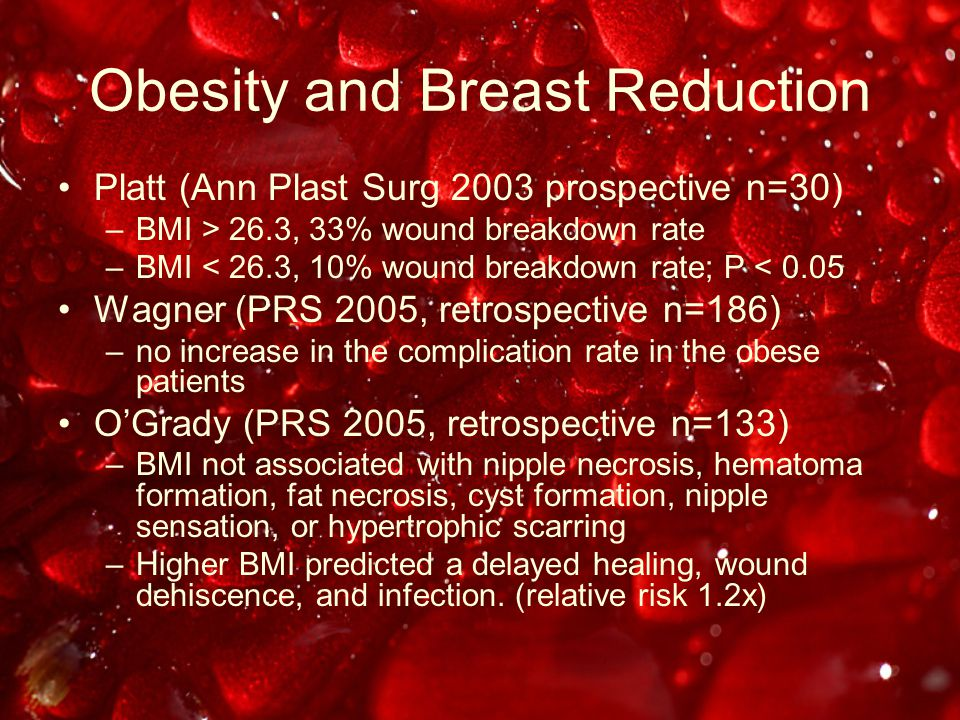 Obesity and Breast Reduction Platt (Ann Plast Surg 2003 prospective n=30) –BMI > 26.3, 33% wound breakdown rate –BMI < 26.3, 10% wound breakdown rate; P < 0.05 Wagner (PRS 2005, retrospective n=186) –no increase in the complication rate in the obese patients O'Grady (PRS 2005, retrospective n=133) –BMI not associated with nipple necrosis, hematoma formation, fat necrosis, cyst formation, nipple sensation, or hypertrophic scarring –Higher BMI predicted a delayed healing, wound dehiscence, and infection.