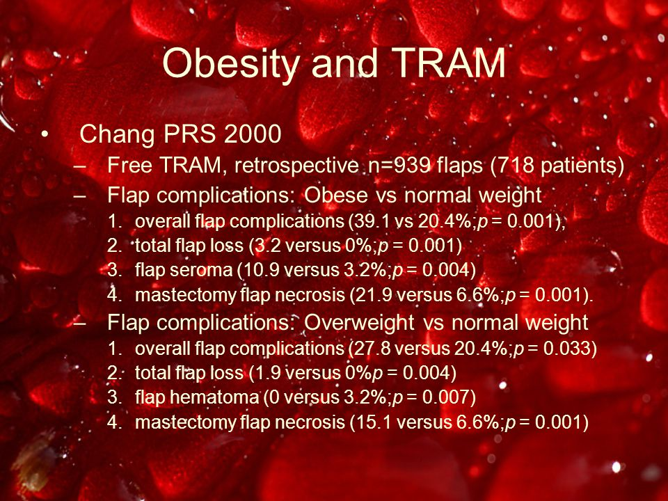 Obesity and TRAM Chang PRS 2000 –Free TRAM, retrospective n=939 flaps (718 patients) –Flap complications: Obese vs normal weight 1.overall flap complications (39.1 vs 20.4%;p = 0.001), 2.total flap loss (3.2 versus 0%;p = 0.001) 3.flap seroma (10.9 versus 3.2%;p = 0.004) 4.mastectomy flap necrosis (21.9 versus 6.6%;p = 0.001).