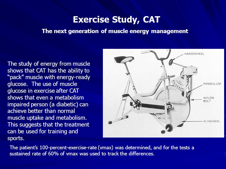 Exercise Study, CAT The next generation of muscle energy management The study of energy from muscle shows that CAT has the ability to pack muscle with energy-ready glucose.