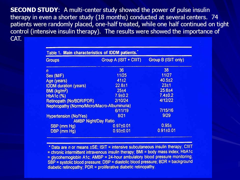 SECOND STUDY: A multi-center study showed the power of pulse insulin therapy in even a shorter study (18 months) conducted at several centers.