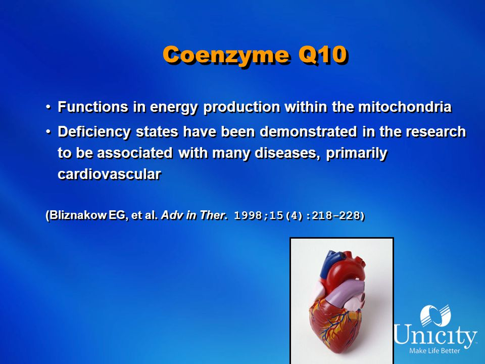 Coenzyme Q10 Functions in energy production within the mitochondria Deficiency states have been demonstrated in the research to be associated with many diseases, primarily cardiovascular (Bliznakow EG, et al.