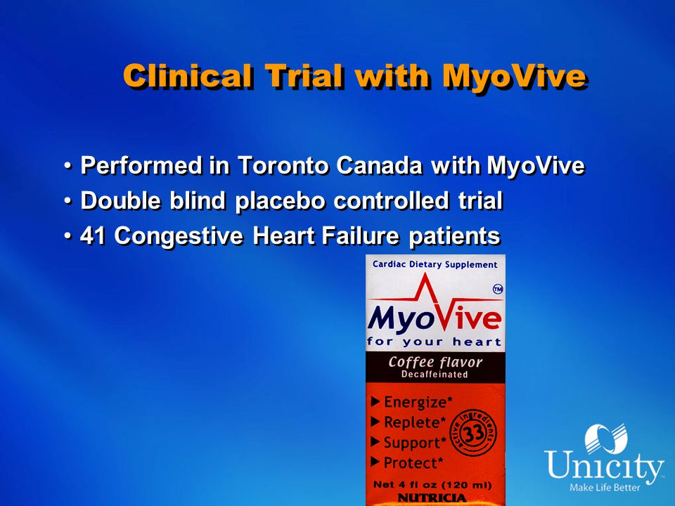 Clinical Trial with MyoVive Performed in Toronto Canada with MyoVive Double blind placebo controlled trial 41 Congestive Heart Failure patients Performed in Toronto Canada with MyoVive Double blind placebo controlled trial 41 Congestive Heart Failure patients