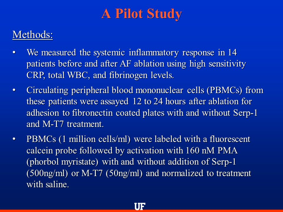 A Pilot Study Methods: We measured the systemic inflammatory response in 14 patients before and after AF ablation using high sensitivity CRP, total WB