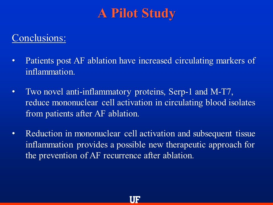 A Pilot Study Conclusions: Patients post AF ablation have increased circulating markers of inflammation. Patients post AF ablation have increased circ