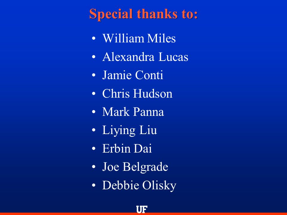 William Miles Alexandra Lucas Jamie Conti Chris Hudson Mark Panna Liying Liu Erbin Dai Joe Belgrade Debbie Olisky Special thanks to: