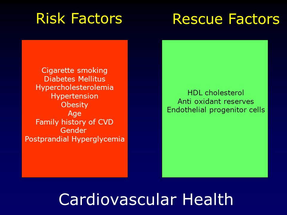 Cardiovascular Health Risk Factors Rescue Factors HDL cholesterol Anti oxidant reserves Endothelial progenitor cells Cigarette smoking Diabetes Mellitus Hypercholesterolemia Hypertension Obesity Age Family history of CVD Gender Postprandial Hyperglycemia